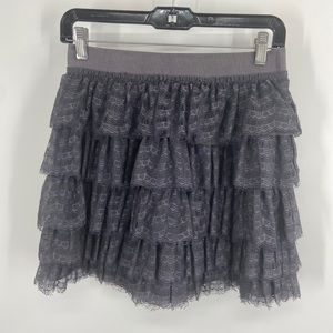 J. CREW Grey Lace Tiered Ruffle Skirt 2